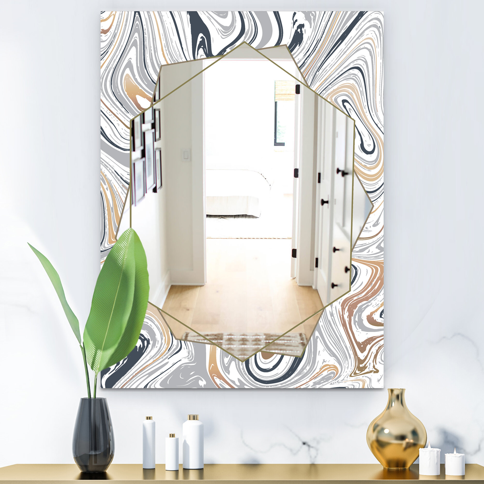 Marbled Diamond Traditional Frameless Bathroom Mirror Regarding Traditional Frameless Diamond Wall Mirrors (View 6 of 20)