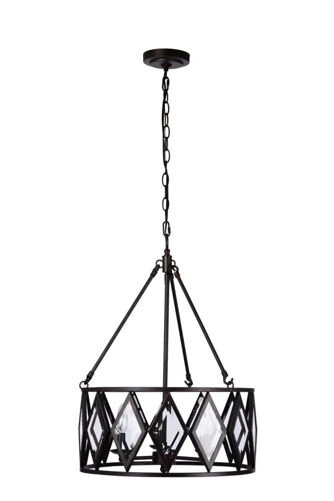 Maria Diamond 3 Light 60W Bronze Pendant With Beveled Glass Accented Shade With Emaria 3 Light Single Drum Pendants (Image 19 of 25)