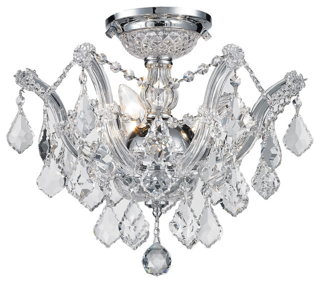 Maria Theresa 3 Light Chrome Finish Crystal Shabby Chic Luxe Ceiling Light,  Clea In Clea 3 Light Crystal Chandeliers (Image 18 of 20)