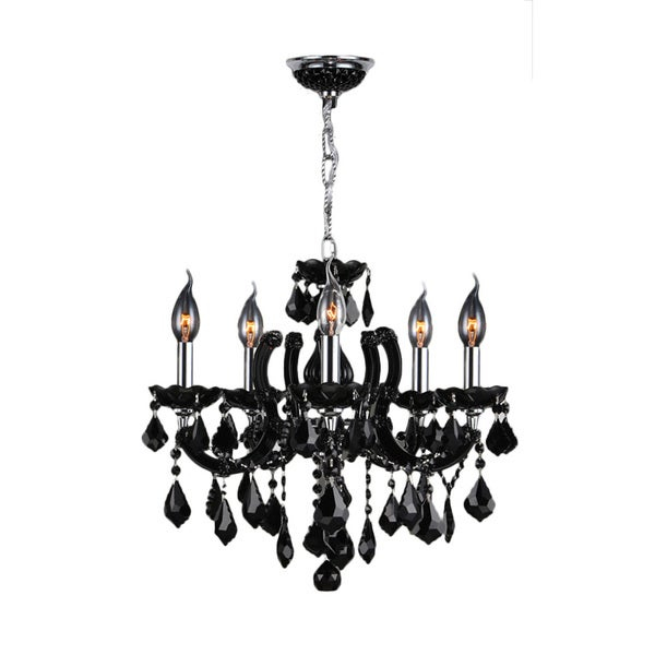 Maria Theresa 5 Light Chrome Finish And Black Crystal 18 X 18 Inch Glam Chandelier With Thresa 5 Light Shaded Chandeliers (View 7 of 20)