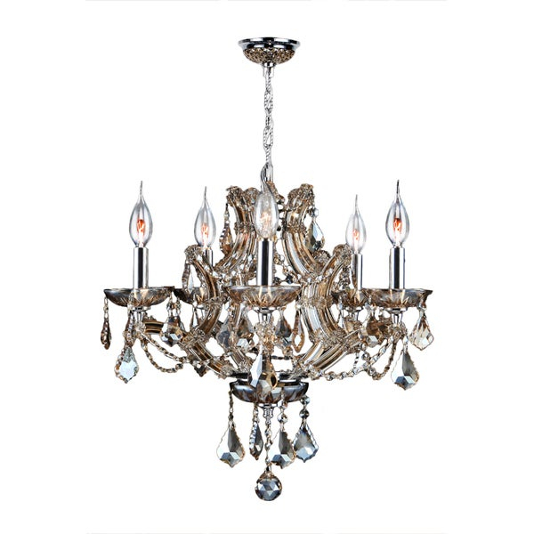 Maria Theresa 5 Light Golden Teak Crystal Glam Chandelier Medium 19 In. W X 18 In (View 3 of 20)