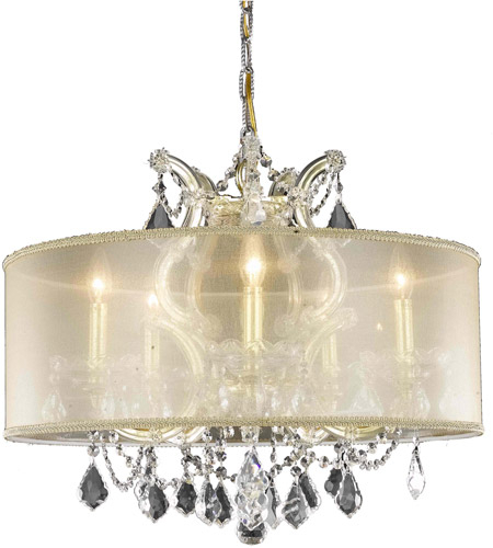 Maria Theresa 6 Light 23 Inch Gold Dining Chandelier Ceiling Light In Clear, Elegant Cut, Gold Shade Inside Thresa 5 Light Shaded Chandeliers (View 9 of 20)