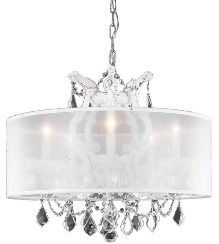 Maria Theresa 6 Light 23 Inch White Dining Chandelier Ceiling Light In Clear, Swarovski Strass, Silver Shade Inside Thresa 5 Light Shaded Chandeliers (View 12 of 20)
