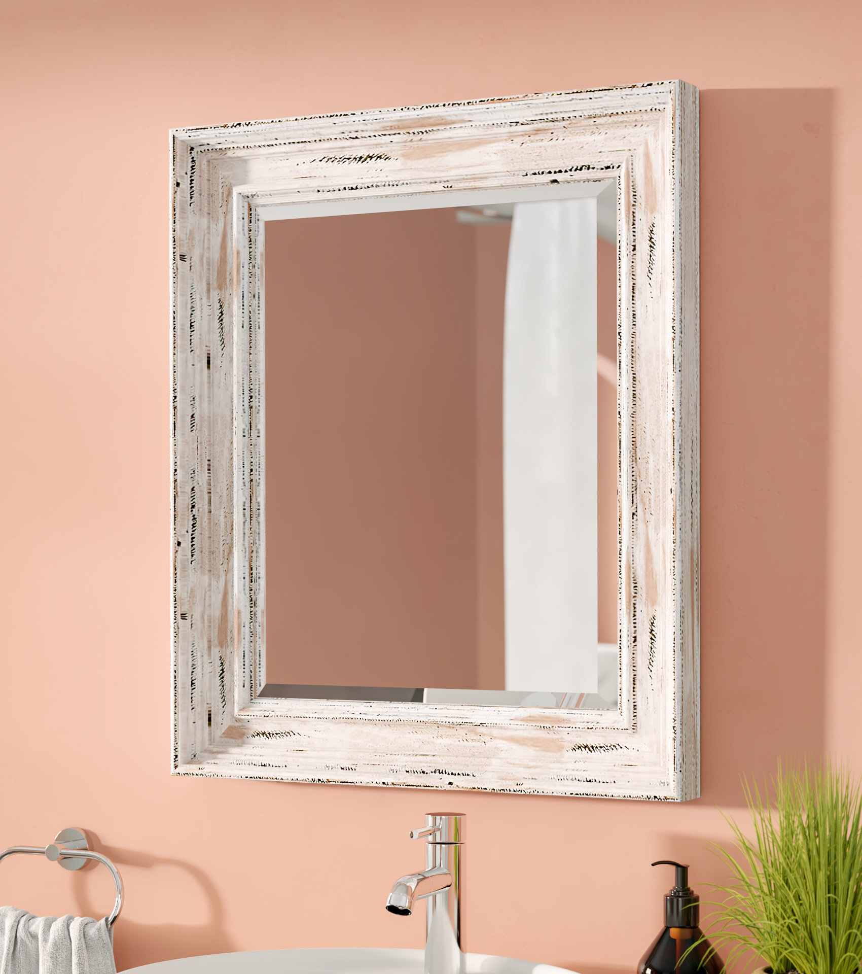 Marion Beveled Distressed Bathroom Wall Mirror With Regard To Marion Wall Mirrors (Image 10 of 20)