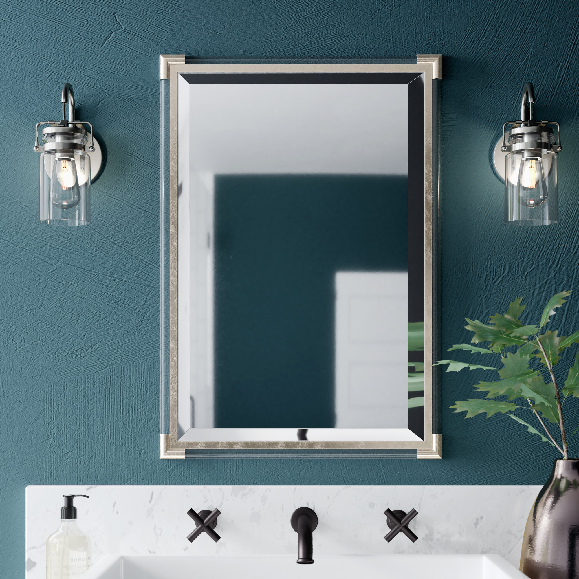 Marta Silver Frame Accent Wall Mirror For Silver Frame Accent Mirrors (View 5 of 20)