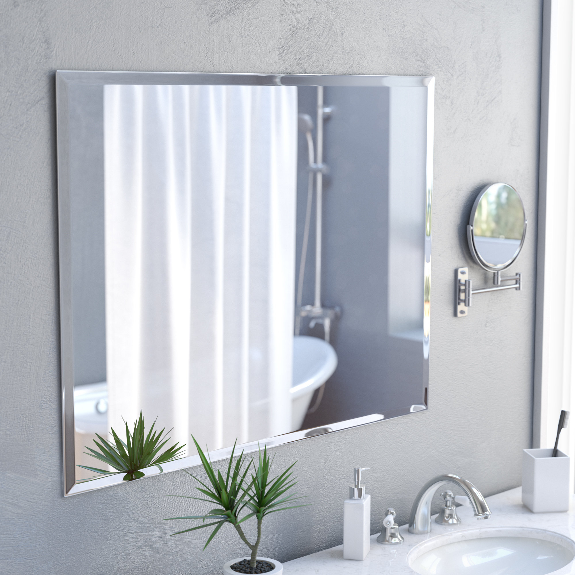 Marylee Rectangle Beveled Polish Frameless Wall Mirror With Hooks Throughout Logan Frameless Wall Mirrors (View 10 of 20)