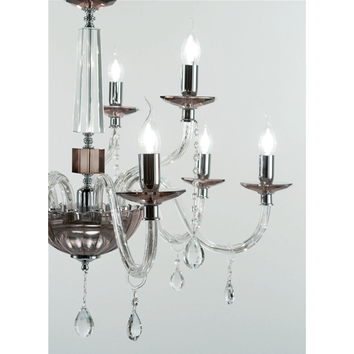 Marzia Chandelier In Smoked Glass And Metal 3 6 Or 9 Lights Pertaining To Camilla 9 Light Candle Style Chandeliers (View 20 of 20)
