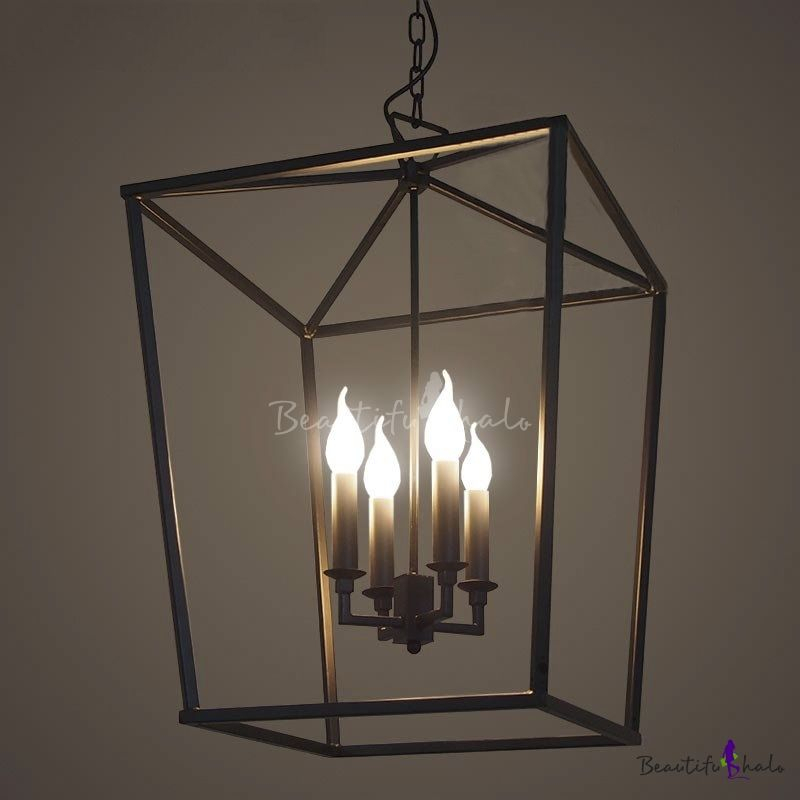 Matte Black 4 Light Square Open Cage Pendant – Beautifulhalo Within Hewitt 4 Light Square Chandeliers (View 10 of 20)
