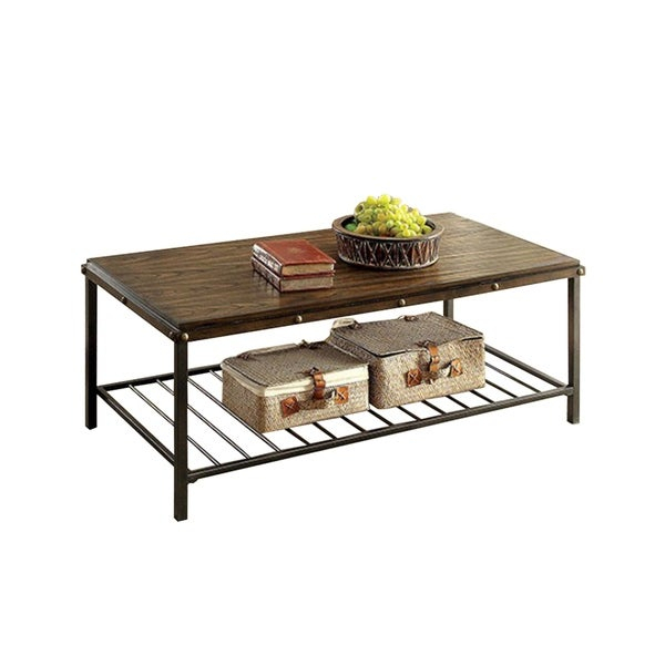 Maude Industrial Coffee Table Set, Dark Oak Finish, Set Of 3 Pertaining To Dravens Industrial Cherry Coffee Tables (Image 16 of 25)