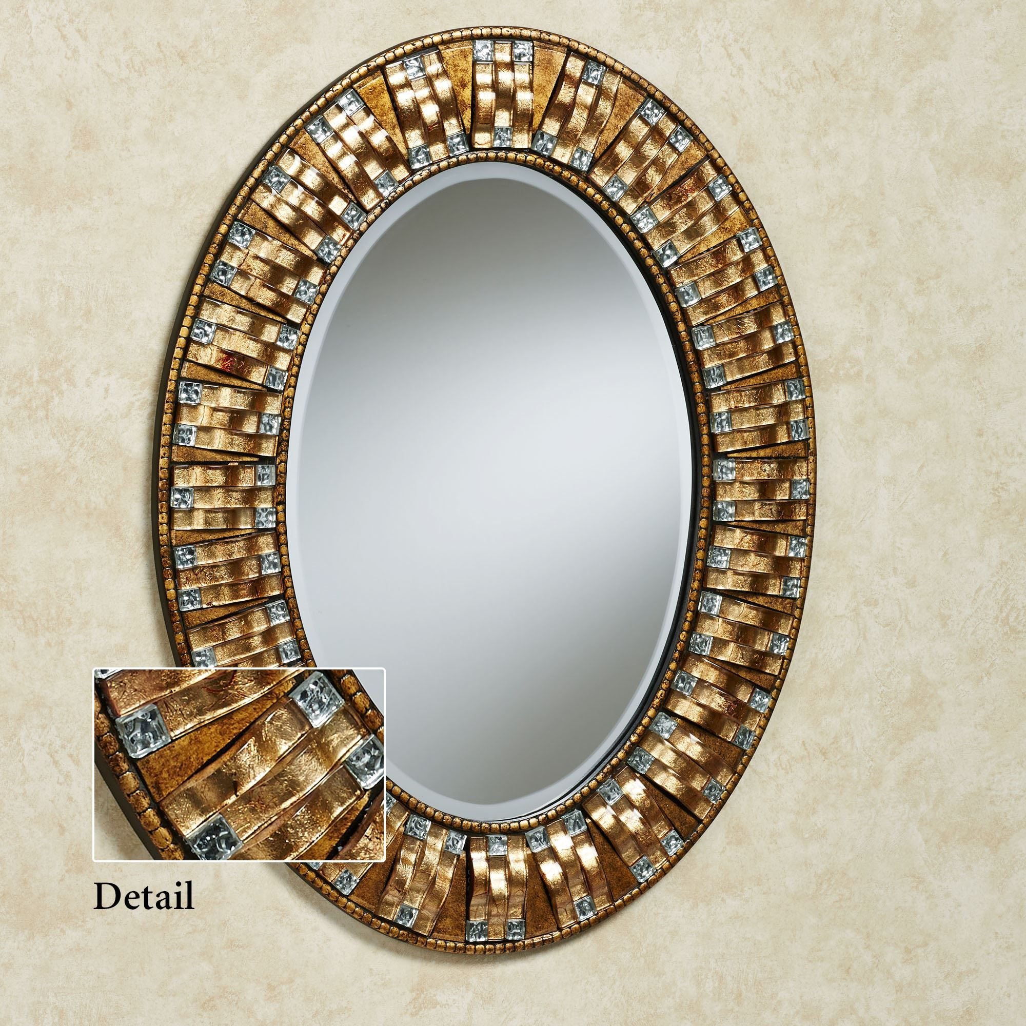 Maybelle Mosaic Oval Wall Mirror Pertaining To Oval Metallic Accent Mirrors (Image 14 of 20)
