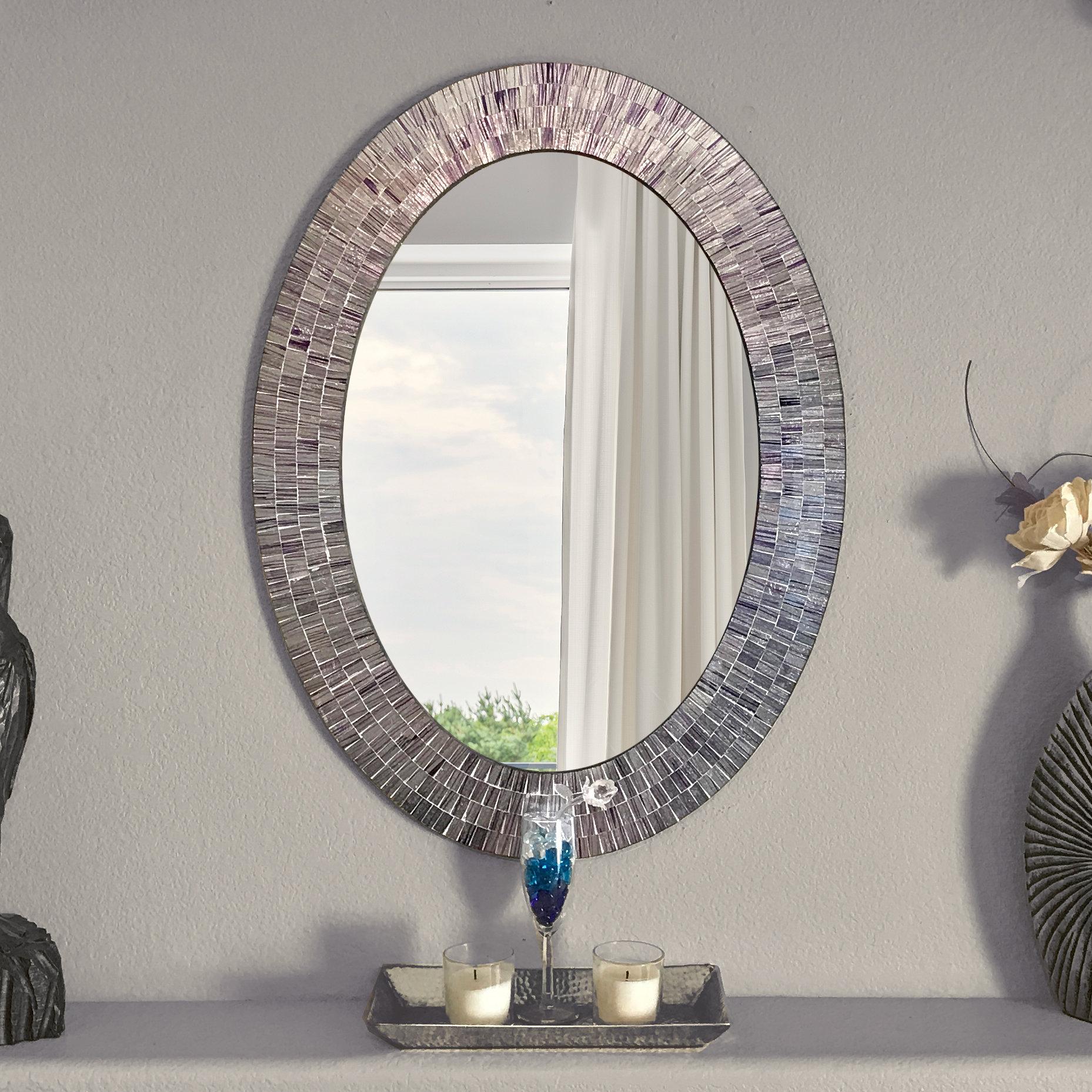 Mckim Wall Mounted Mirror In Sajish Oval Crystal Wall Mirrors (View 12 of 20)
