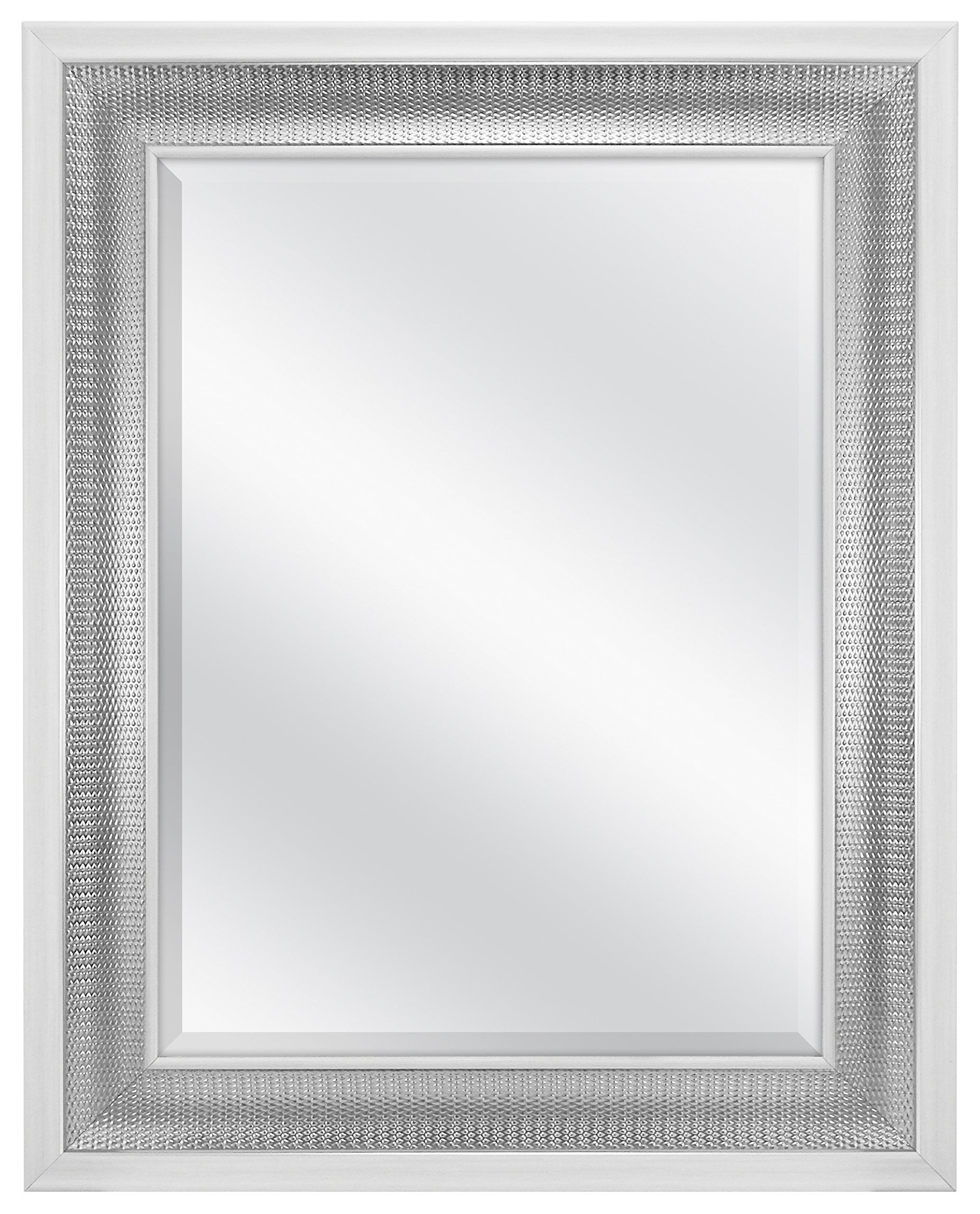 Mcs 18X24 Inch Beveled Wall Mirror White & Woven, Silver Throughout Farmhouse Woodgrain And Leaf Accent Wall Mirrors (View 12 of 20)