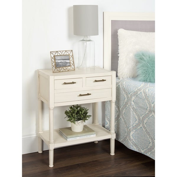 Meacham Three Drawer Nightstand Side End Table, Antique White Inside Strick & Bolton Florence Chrome Coffee Tables (View 24 of 25)