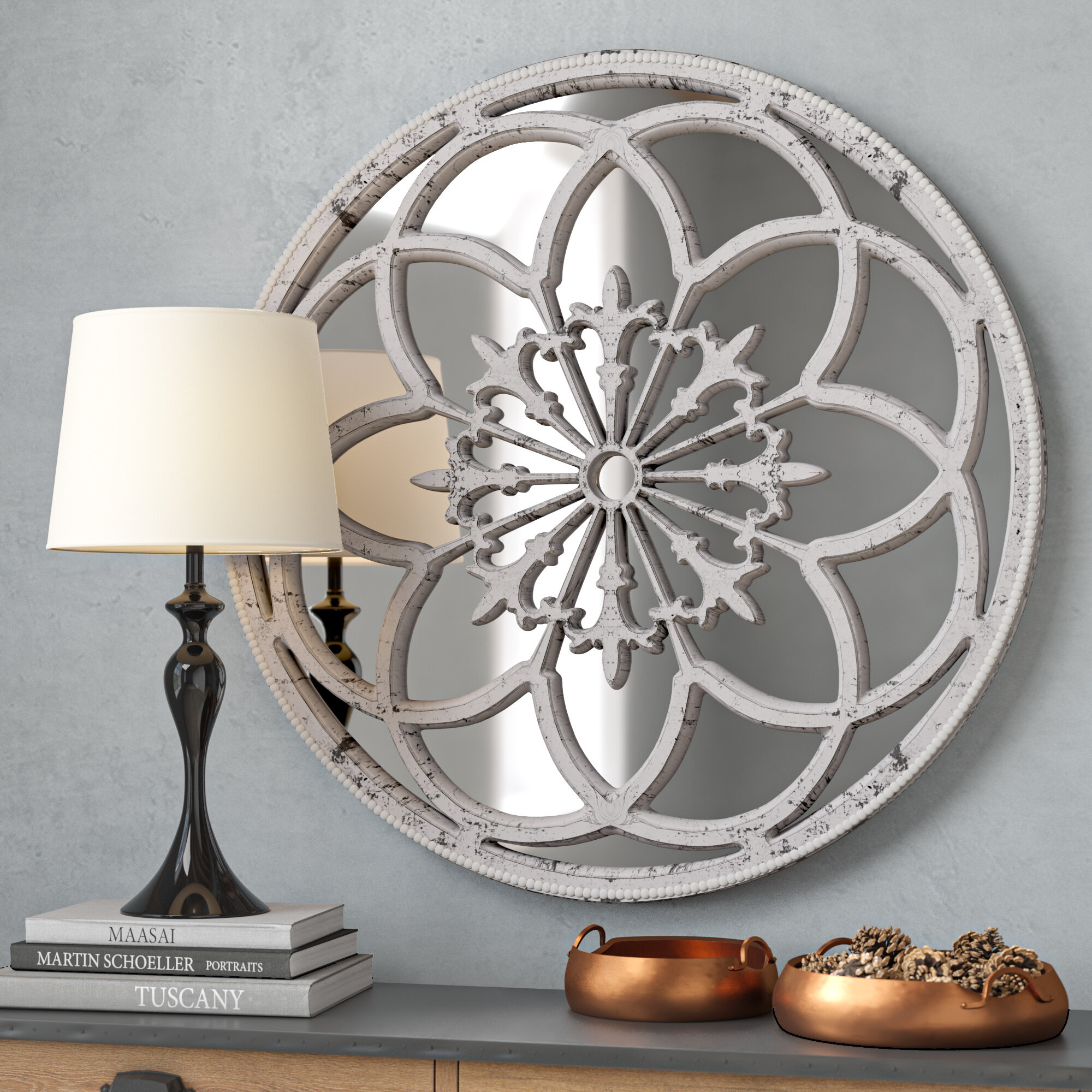 Medallion Mirror | Wayfair Throughout Medallion Accent Mirrors (Image 15 of 20)