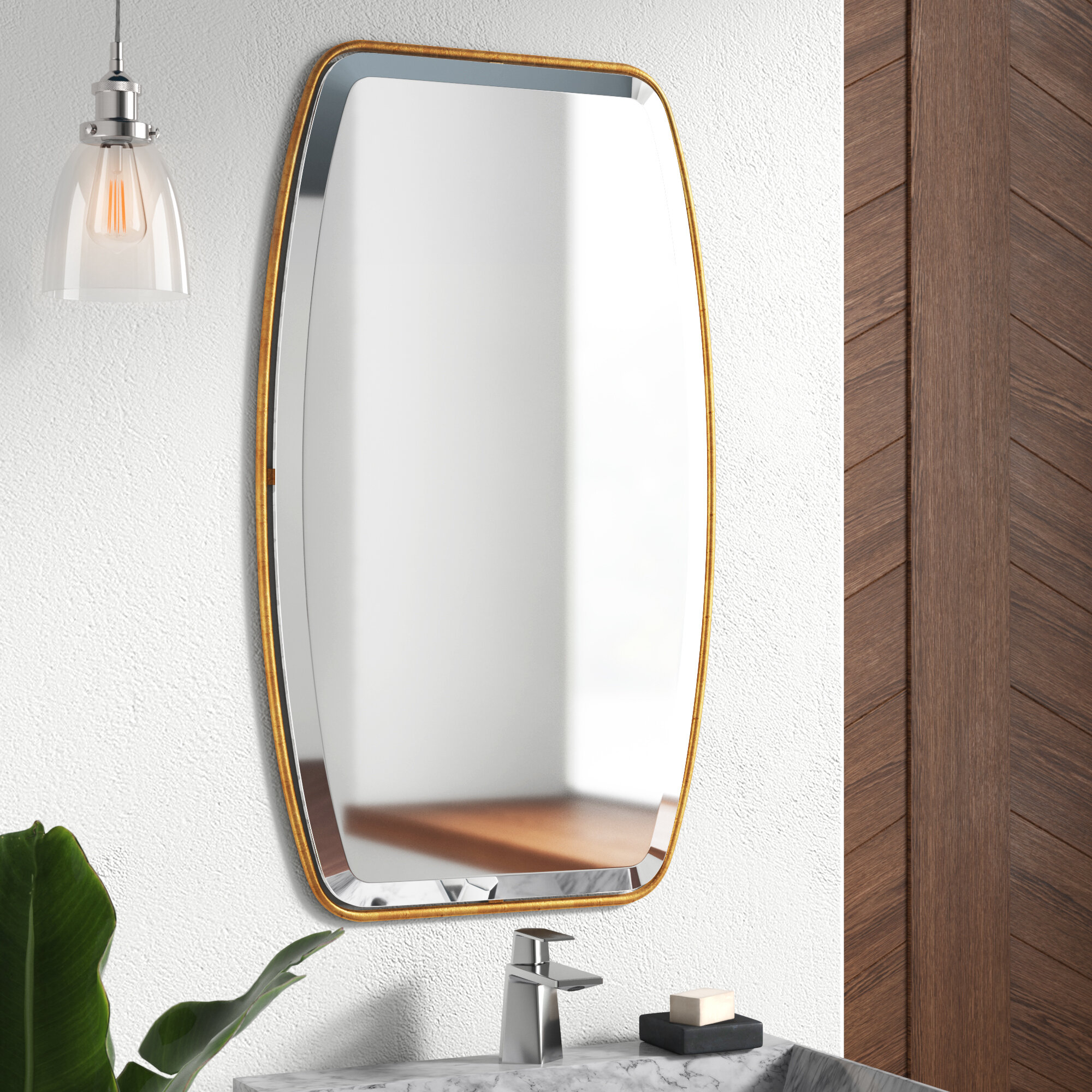 Mercury Row Lugo Rectangle Gold Metal Wall Mirror & Reviews Inside Lugo Rectangle Accent Mirrors (Image 14 of 20)