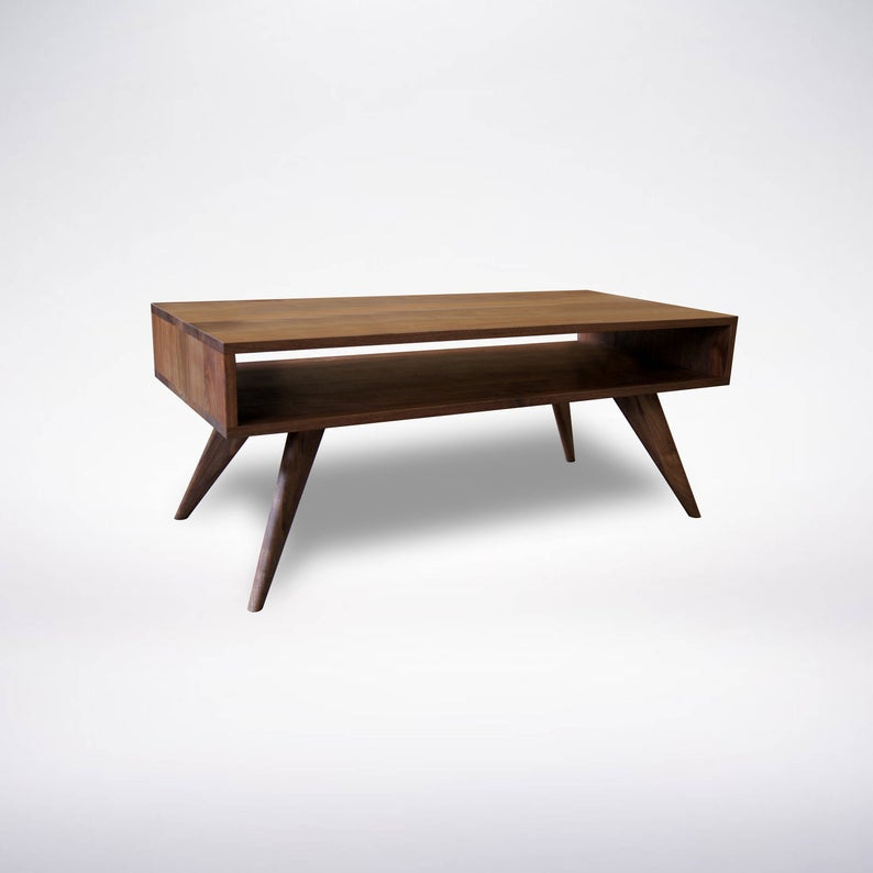 Mid Century Modern Coffee Table Solid Wood Walnut Pertaining To Solid Hardwood Rectangle Mid Century Modern Coffee Tables (View 2 of 50)