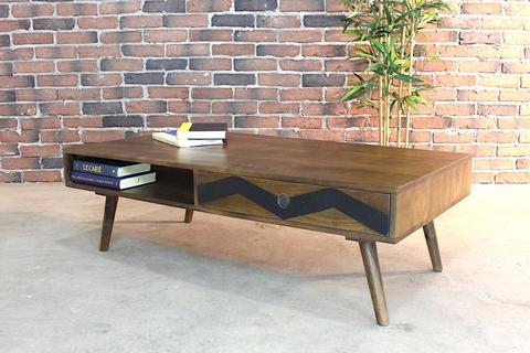 Mid Century Modern Rustic Solid Mango Wood Coffee Table With Solid Hardwood Rectangle Mid Century Modern Coffee Tables (View 36 of 50)