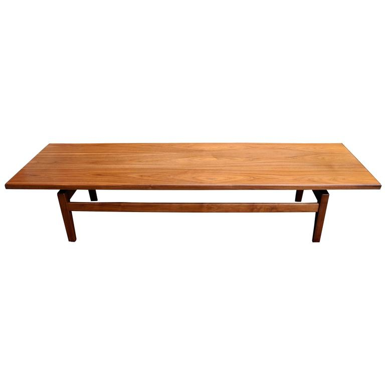 Mid Century Modern Solid Walnut Low Coffee Table Or Long Benchjens Risom Regarding Solid Hardwood Rectangle Mid Century Modern Coffee Tables (View 4 of 50)