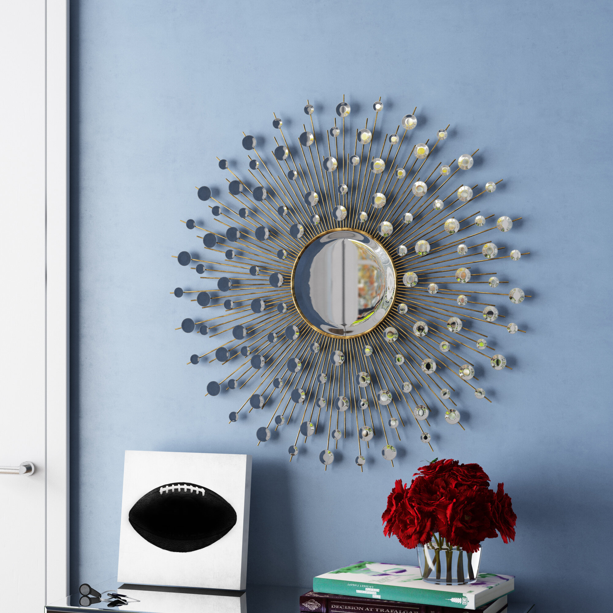 Milivoje Starburst Accent Mirror Regarding Diamondville Modern & Contemporary Distressed Accent Mirrors (Image 16 of 20)