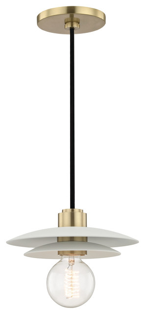 Milla Small Pendant – Aged Brass Finish – White Shade Throughout Barrons 1 Light Single Cylinder Pendants (View 16 of 25)