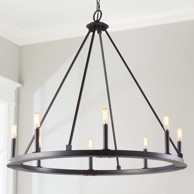 Minimalist Iron Ring Chandelier 8 Light Shades Of Light Ebay Pertaining To Shaylee 8 Light Candle Style Chandeliers (View 16 of 20)