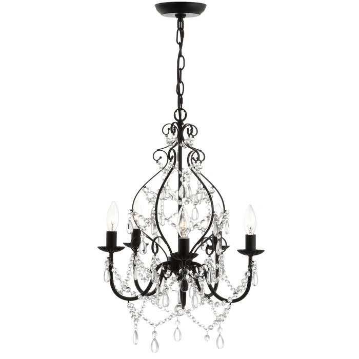 Minix Crystal/metal 5 Light Chandelier Inside Watford 9 Light Candle Style Chandeliers (Image 13 of 20)