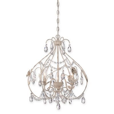Minka Lavery Provencal Blanc 3 Light Mi Inside Whitten 4 Light Crystal Chandeliers (View 18 of 20)