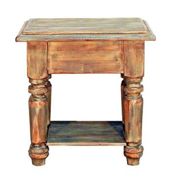 Mint Finish End Table Shabby Chic Real Solid Wood Distressed With Regard To Copper Grove Obsidian Black Tempered Glass Apartment Coffee Tables (View 12 of 25)