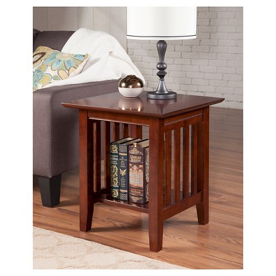 Mission End Table – Walnut – Atlantic Furniture, Brown For Mission Walnut Coffee Tables (View 10 of 25)