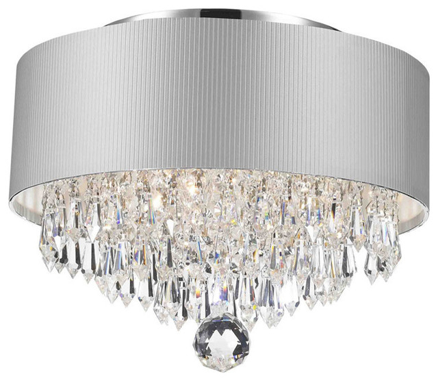 Modern 3 Light Chrome Crystal Chandelier Silver Acrylic Drum Shade Regarding Clea 3 Light Crystal Chandeliers (Image 19 of 20)