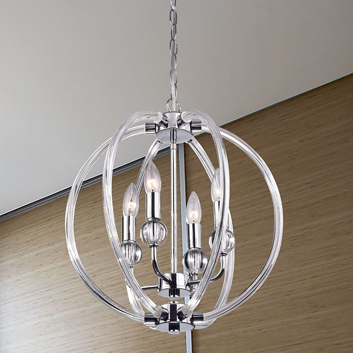 Modern 4 Light Globe Chandelier Orb Pendant Glass Sphere In Hendry 4 Light Globe Chandeliers (Image 17 of 20)