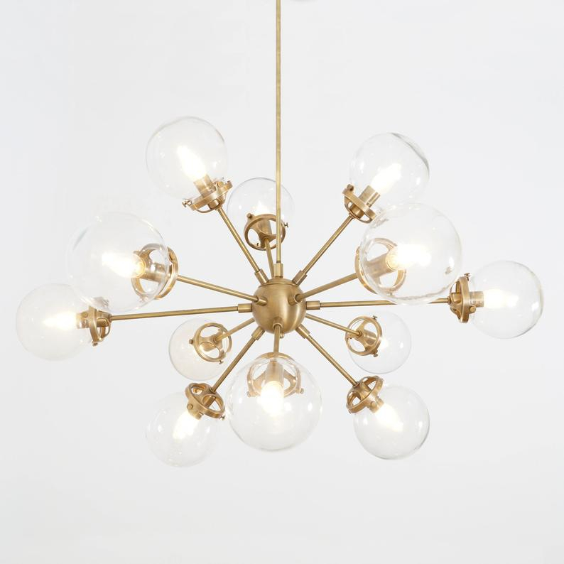 Modern Brass 12 Globe Bistro Sputnik Chandelier Light Fixture – Sputnik Starburst Chandelier Pertaining To Corona 12 Light Sputnik Chandeliers (View 20 of 20)