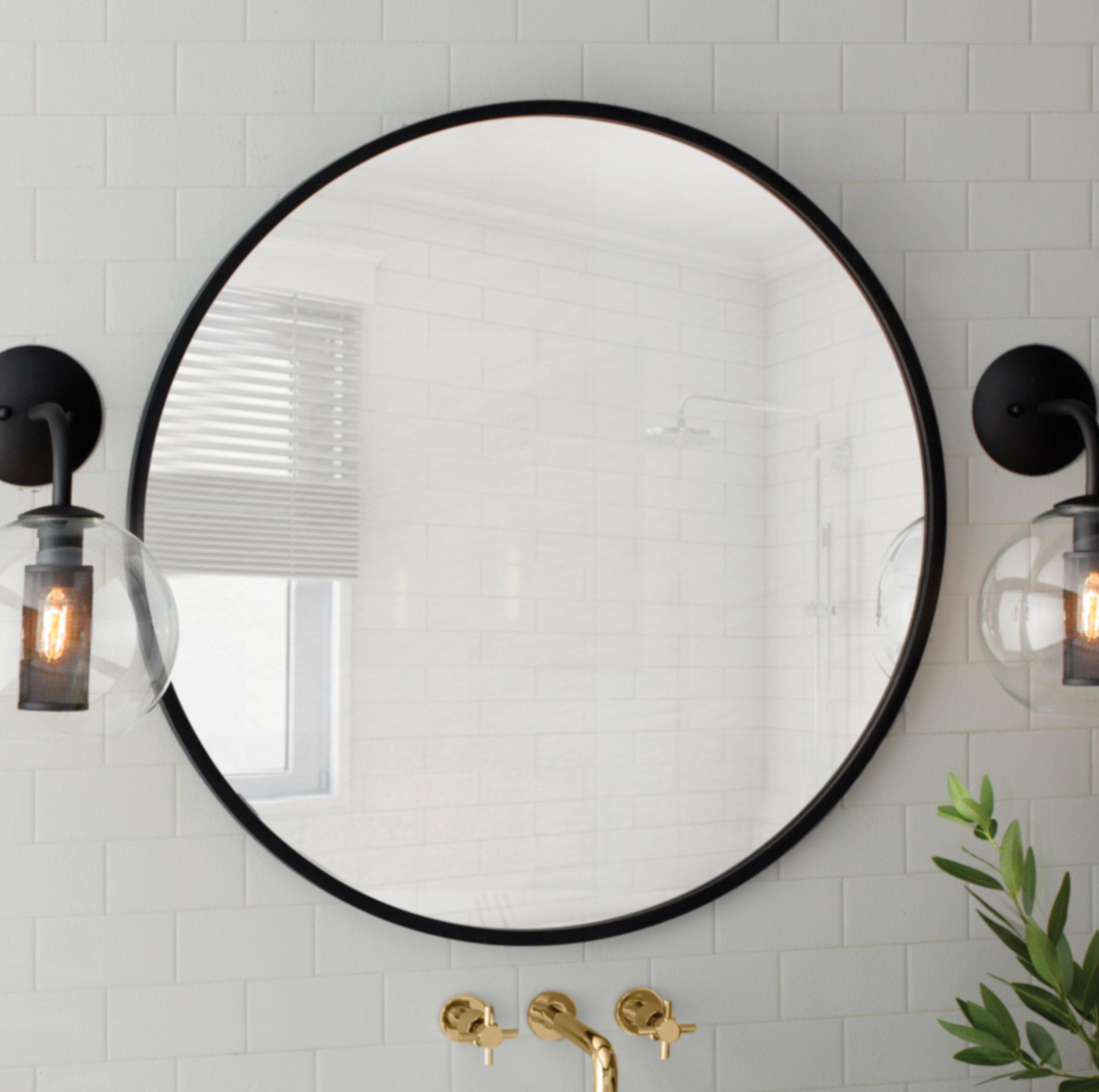 Modern & Contemporary 40 Inch Round Mirror | Allmodern In Point Reyes Molten Round Wall Mirrors (Image 7 of 20)