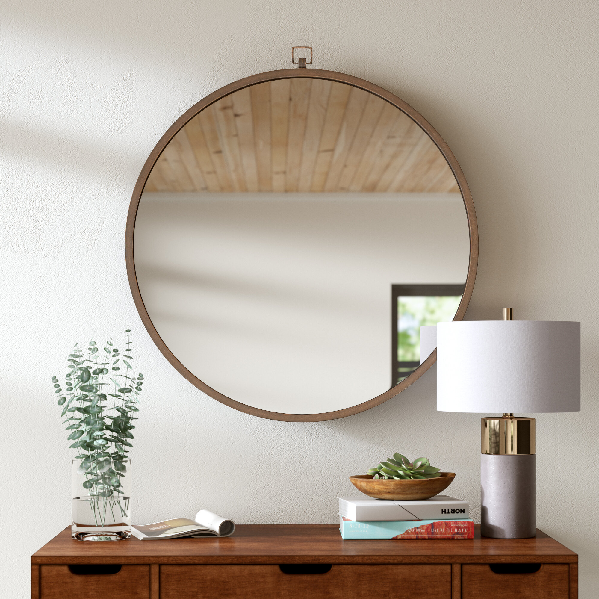 Modern & Contemporary Antique Brass Mirror | Allmodern Inside Mahanoy Modern And Contemporary Distressed Accent Mirrors (Image 12 of 20)