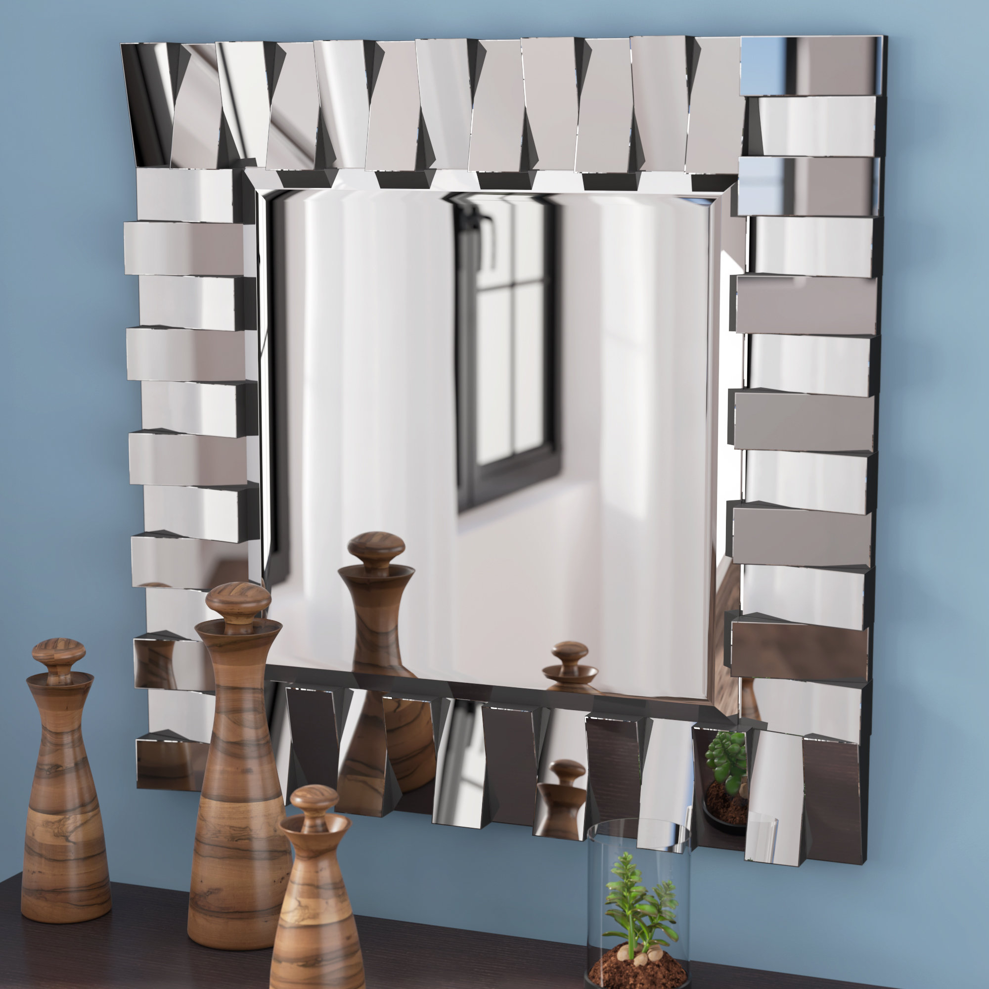 Modern & Contemporary Beveled Wall Mirror Throughout Modern & Contemporary Beveled Wall Mirrors (View 3 of 20)