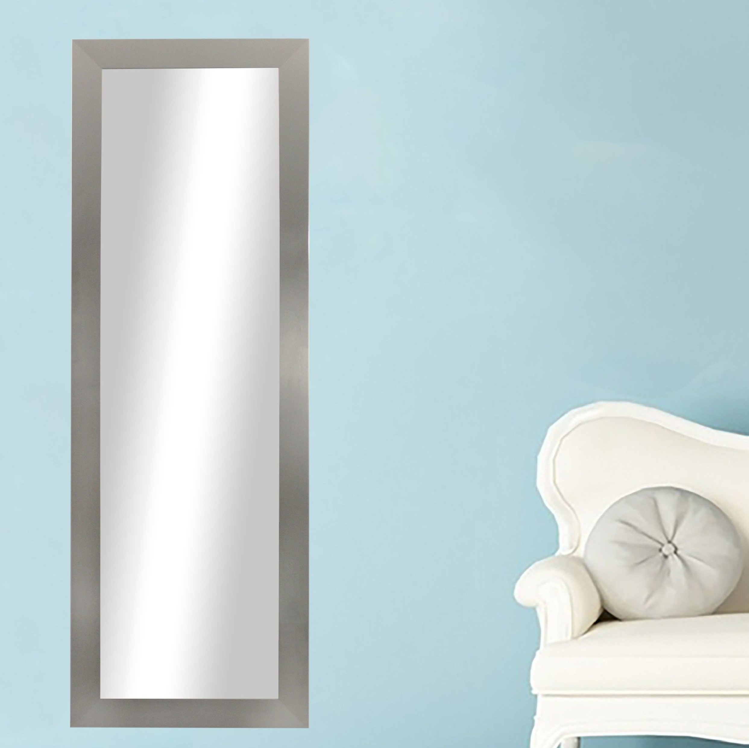 Modern & Contemporary Full Length Mirror Inside Hogge Modern Brushed Nickel Large Frame Wall Mirrors (Photo 3 of 20)