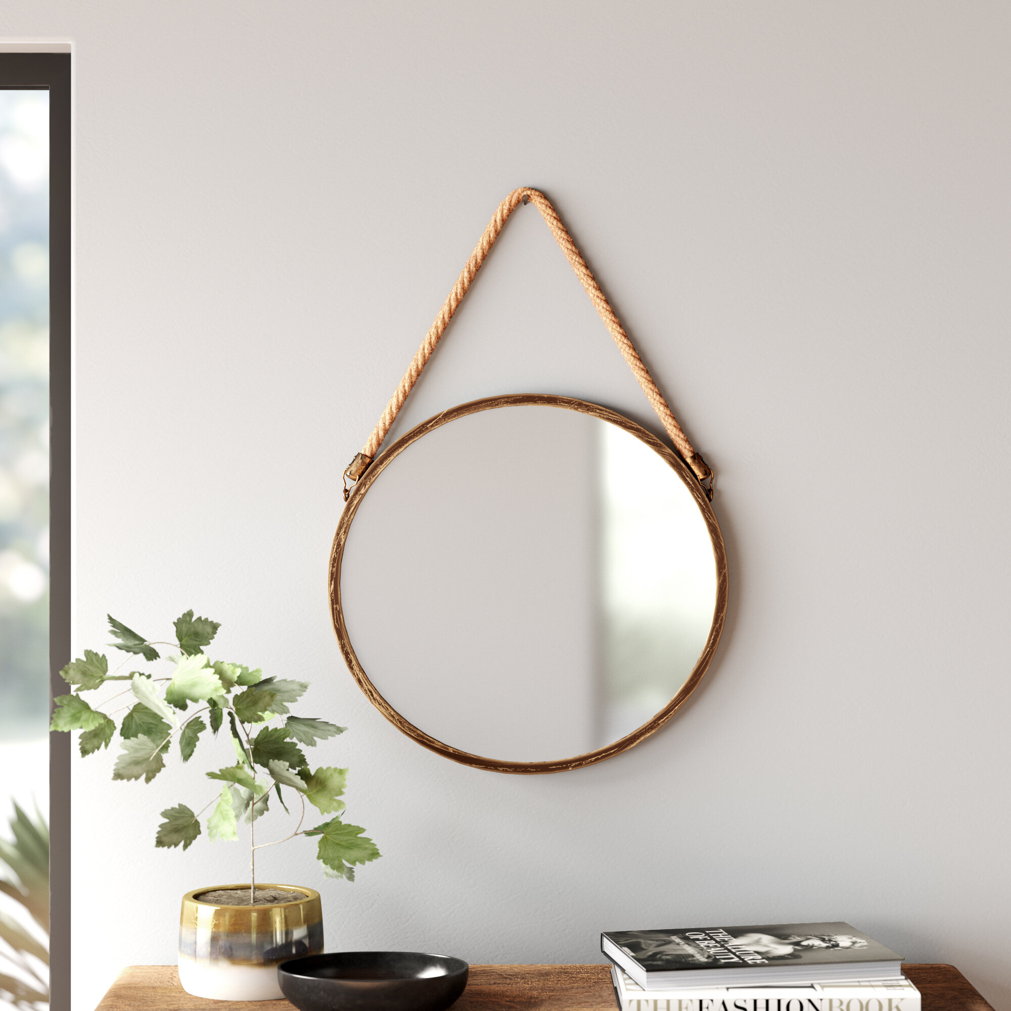 Modern & Contemporary Rope Hanging Mirror | Allmodern With Matthias Round Accent Mirrors (Image 14 of 20)