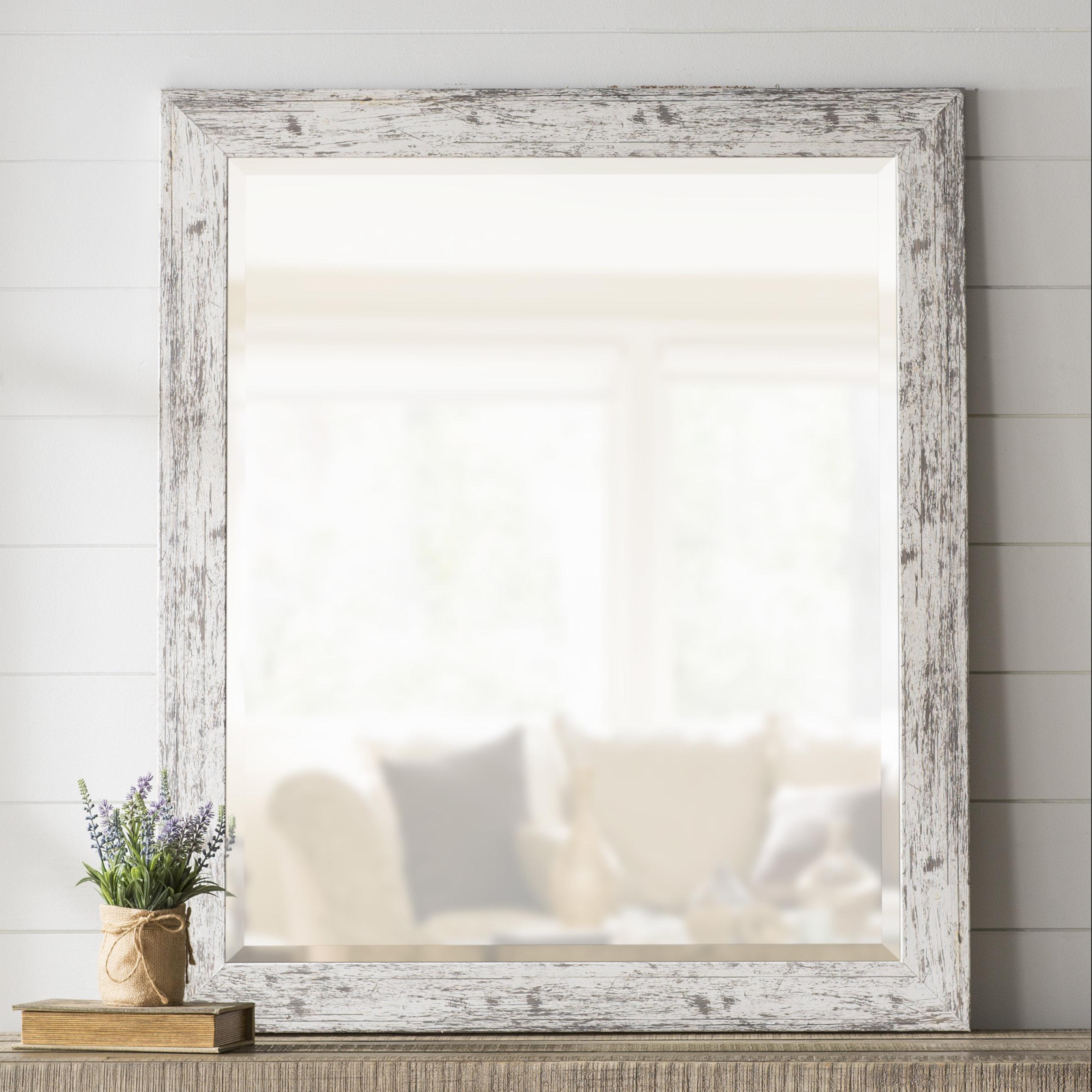 Modern Farmhouse Mirror | Wayfair In Farmhouse Woodgrain And Leaf Accent Wall Mirrors (View 8 of 20)