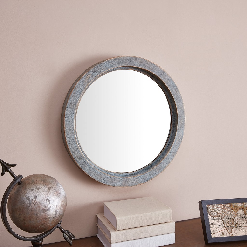 Modern Industrial Floating Round 20 Inch Wall Mirror With Antiqued Copper Metal Frame – Contemporary Framed Hanging Mirror Inside Industrial Modern & Contemporary Wall Mirrors (View 7 of 20)