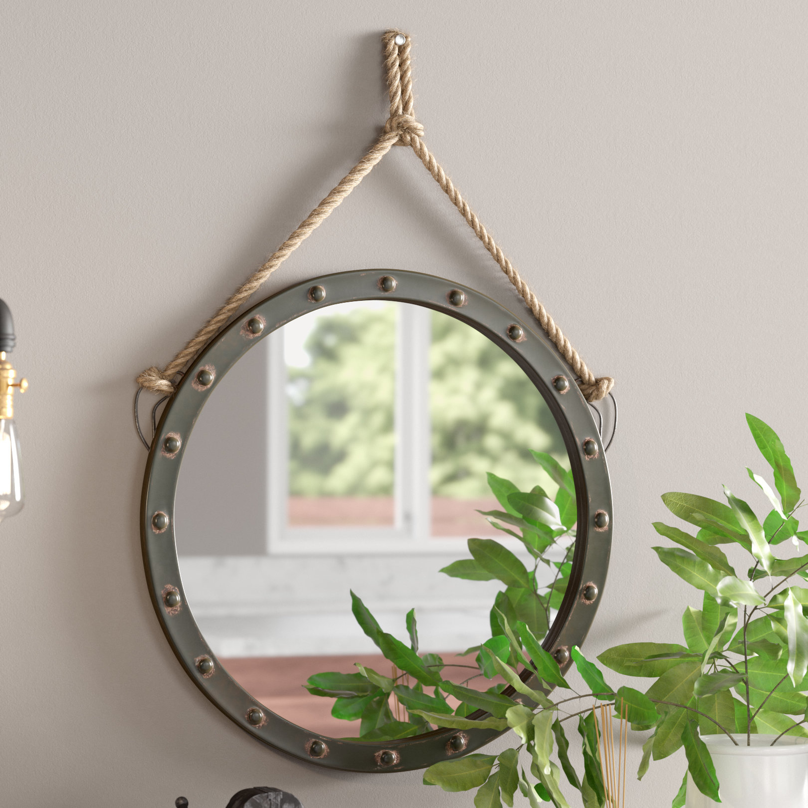 "Modern Large & Oversized (Over 32"" High) Round Wall Mirrors In Round Eclectic Accent Mirrors (Photo 4 of 20)"