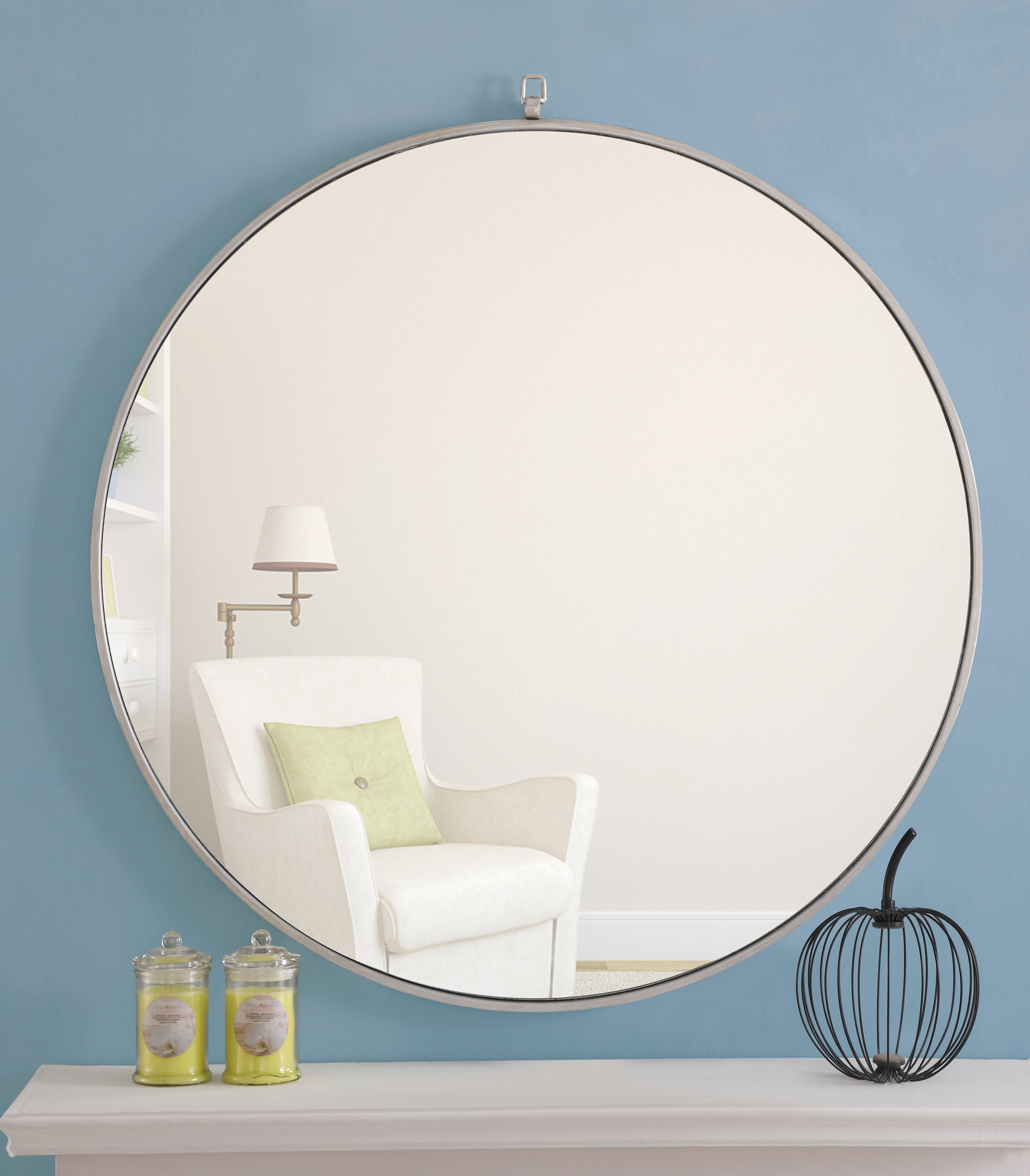 "Modern Large & Oversized (Over 32"" High) Round Wall Mirrors Regarding Mahanoy Modern And Contemporary Distressed Accent Mirrors (Image 15 of 20)"