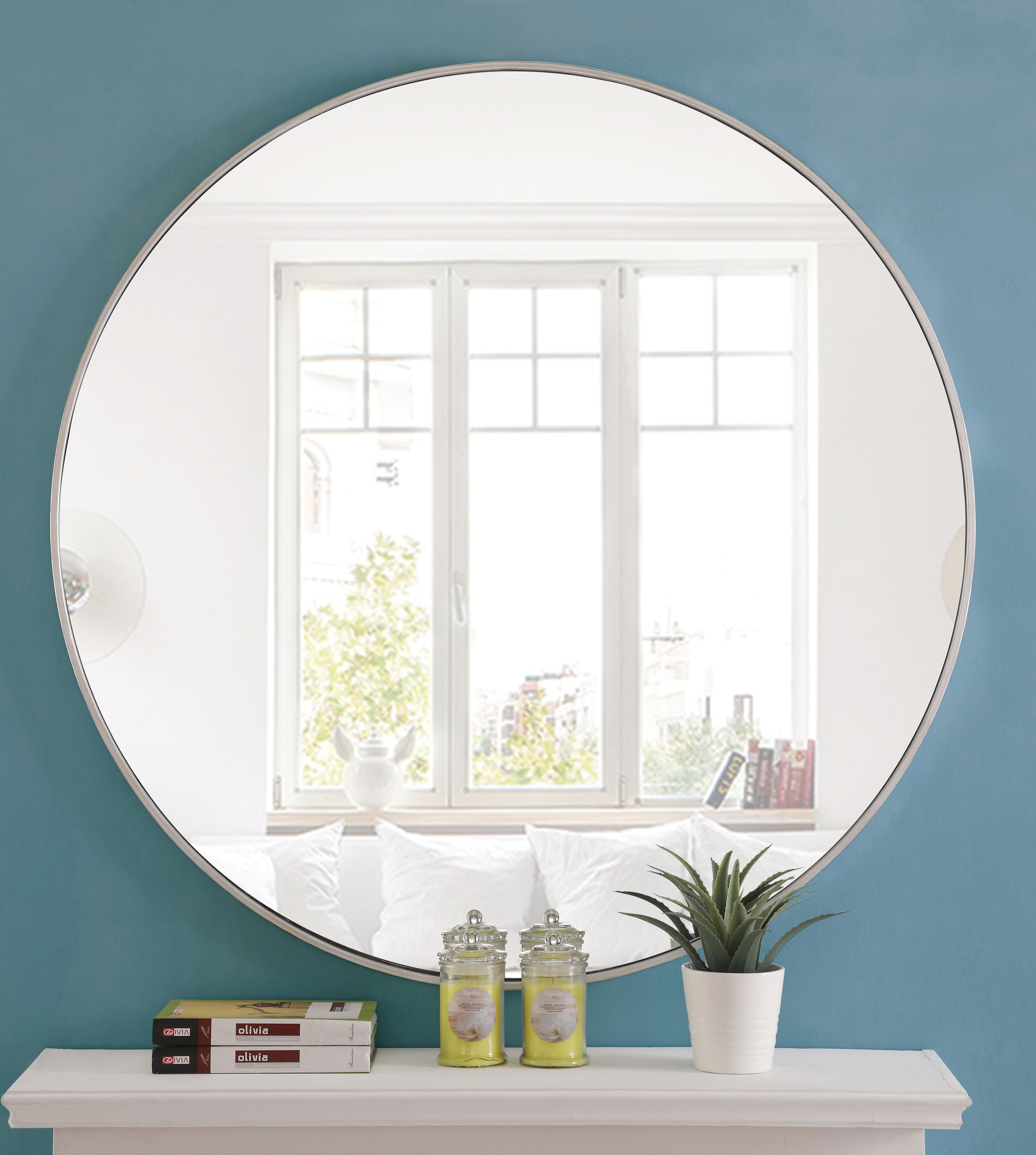 "Modern Large & Oversized (Over 32"" High) Round Wall Mirrors With Regard To Mahanoy Modern And Contemporary Distressed Accent Mirrors (Image 16 of 20)"