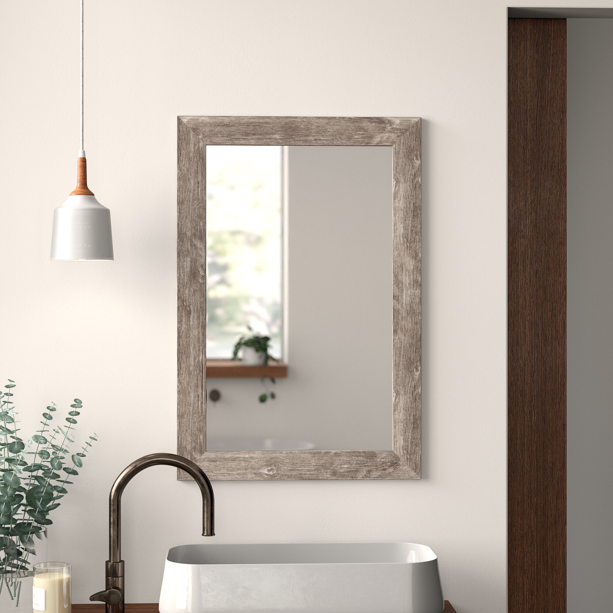 Modern Rectangle Bathroom Mirrors | Allmodern Pertaining To Booth Reclaimed Wall Mirrors Accent (Image 9 of 20)