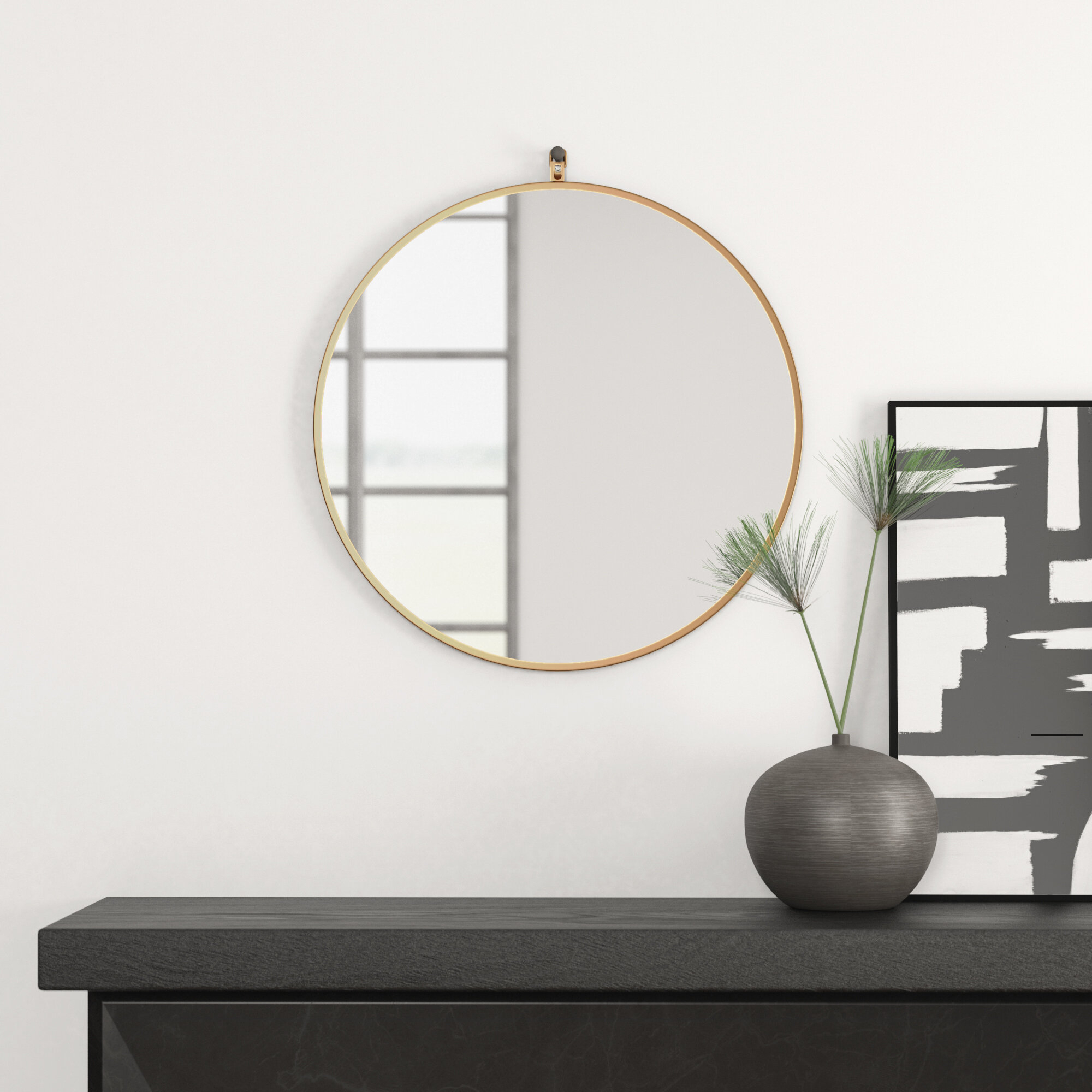 Modern Round Wall & Accent Mirrors | Allmodern In Mahanoy Modern And Contemporary Distressed Accent Mirrors (Image 17 of 20)
