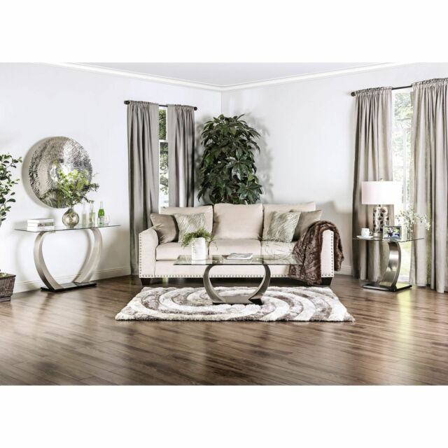 Modern Satin Plated Curved Pillar Glass Top 3 Piece Accent Living Room Table Set Regarding Carmella Satin Plated Coffee Tables (View 6 of 50)