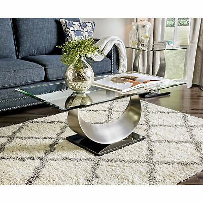 Modern Satin Plated Glass Top Living Room Foyer Console Sofa Regarding Carmella Satin Plated Coffee Tables (View 16 of 50)
