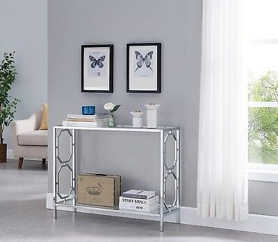 Modern Satin Plated Glass Top Living Room Foyer Console Sofa With Carmella Satin Plated Coffee Tables (View 42 of 50)