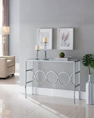 Modern Satin Plated Glass Top Living Room Foyer Console Sofa Within Carmella Satin Plated Coffee Tables (View 24 of 50)