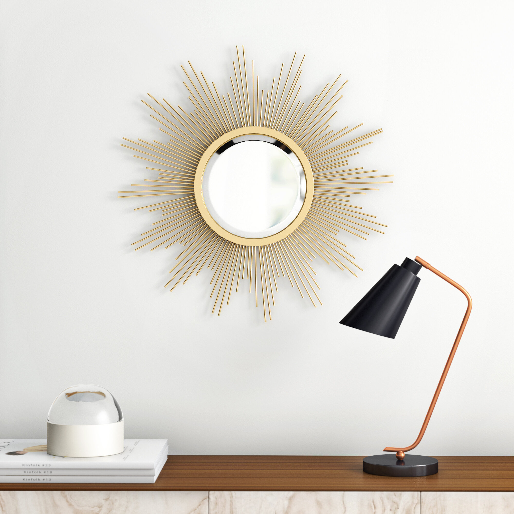 Modern Sunburst Mirrors | Allmodern Within Josephson Starburst Glam Beveled Accent Wall Mirrors (Image 16 of 20)