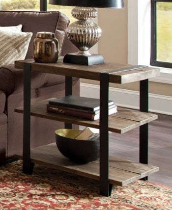 Modesto Metal Strap And Reclaimed Wood End Table With Shelf With Carbon Loft Kenyon Natural Rustic Coffee Tables (Image 14 of 25)